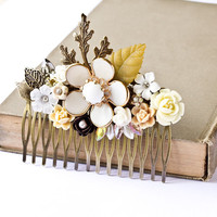 Bridal Hair Comb Woodland Vintage Collage by lonkoosh on Etsy