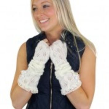 Ivory Knitted Arm Warmers