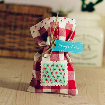 Red plaid 20 Christening favors, fabric favor bags, Baptism favors, girl baptism, fabric favors, party favors, baby shower, cottage chic