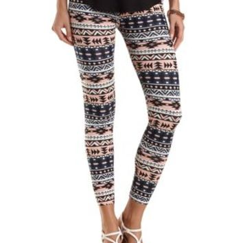 Cotton Tribal Printed Leggings by Charlotte Russe - Neon Watermelon