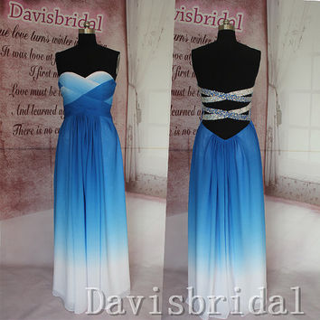 Open back royal blue ombre prom dress 2015,handmade long prom dresses,A line evening prom gown,sexy graduation dress,ombre bridesmaid dress