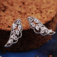 Angel's Wings Full Rhinestone Earrings