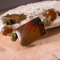 Pumpkin Lampwork, Brown Green Autumn Jasper, Sterling Bracelet - Autumn Memories Earthy