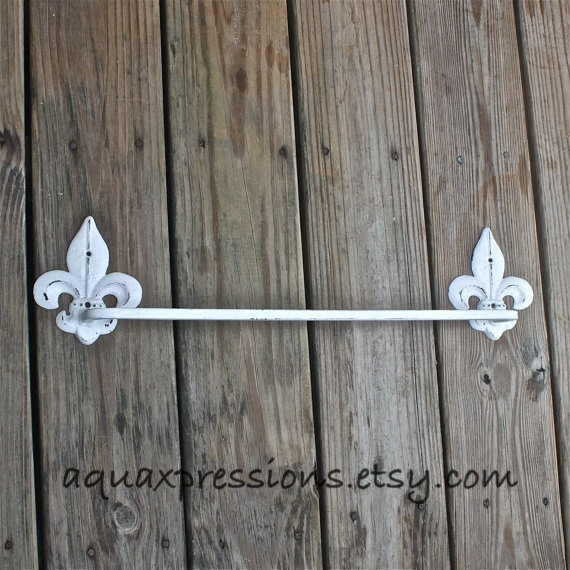 White Metal Towel Rack /Fleur de Lis /Distressed Iron Holder /Decorative Bathroom Fixture/ Painted Accessory Rack/ Shabby Chic