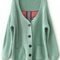 Product search_V Neck Green Sweater with Plaid Back_udobuy - Fashion Dress with Free Shipping