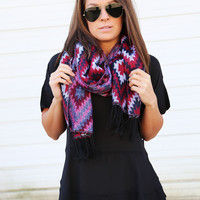 Inca Scarf {Red} - Red Aztec Scarf