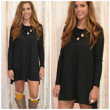 Luck Of The Draw Black Button Neck Dress