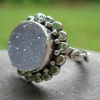 sterling silver and natural drusy stone ring . (( Sparkle Flower Ring )) . choose your stone . made to order in your size