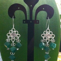 Silver filled diamond with three dangling strands of dice shaped aventurine gemstones
