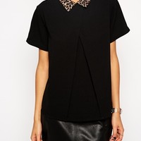 ASOS Short Sleeve Origami Top With Animal Print Collar