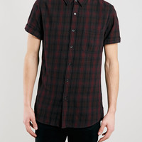 Burgundy Tartan Short Sleeve Casual Shirt - Topman