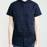 Navy Daisy Print Short Sleeve Shirt - Topman