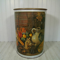 Vintage Primitive Still Life Lithograph Off White Enamel Metal Large Round Waste Can - Retro Ballonoff Over Sized Decorator Trash Basket Bin