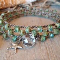 "Beachy bohemian crochet wrap bracelet / necklace / anklet ""SeaStar"" sea green, aqua, sterling silver starfish, beach boho, surfer chic"