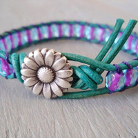 Turquoise &#x27;Key West&#x27; leather wrap bracelet -Purple Passion- violet, blue, daisy, unique, colorful summer surfer chic
