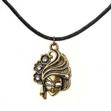 Handmade and Vintage Mask Pendant Necklace by Hallomall on Zibbet