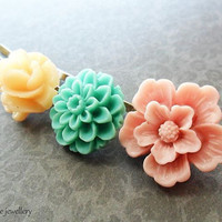 Flower Hair Pin Set, Pink, Seafoam Green and Cream