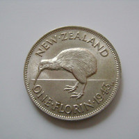 1943 New Zealand One Florin Coin 50 Percent Silver Almost Uncirculated or better with Image of King George VI and Kiwi Bird
