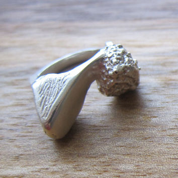 Rough and Smooth Rock Ring - Silver