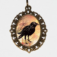 Raven Necklace, Bird Jewelry, Black Bird, Raven Jewelry, Crow Necklace, Gothic Jewelry, Crows, Oval Pendant