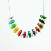 Geometric Necklace - Hippie Party Bright Disk Beaded Necklace - Colorful Jewelry - Turquoise, Yellow, Red, Purple, Green, Pink, Lilac