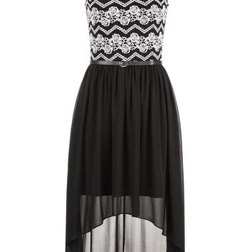 belted chiffon skirt lace top dress