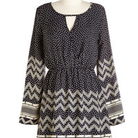 ModCloth Short Length Long Sleeve A-line Stroll and Tell Dress in Navy