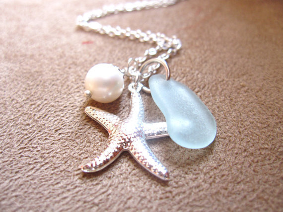 Sea Glass Starfish Necklace in Seafoam Blue with fresh water pearl - Perfect Necklace for bridesmaids in destination wedding