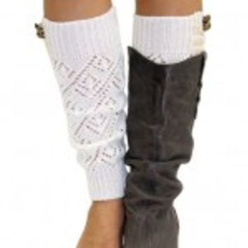 Knitted Ivory Leg Warmers