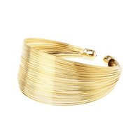Stacked Wire Cuff Bracelet by Charlotte Russe - Gold