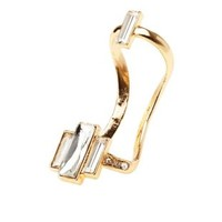 Diamante Baguette Open Knuckle Ring by Charlotte Russe - Gold