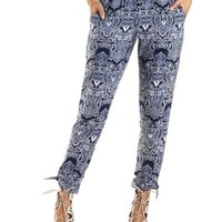 Paisley Ankle Tie Jogger Pants by Charlotte Russe - Navy Combo