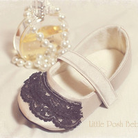 Toddler Shoes Mira Champagne Mary Janes with black lace ruffle toe (Size 5-13)