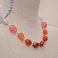 Ombre Necklace - Pink, Coral, Orange, Red semi-precious stones