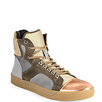 Lanvin - Satin & Metallic Leather High-Top Sneakers - Saks Fifth Avenue Mobile