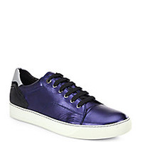 Lanvin - Metallic Leather Low-Top Sneakers - Saks Fifth Avenue Mobile