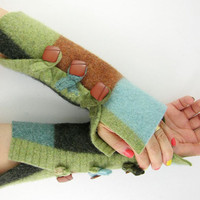 color block arm warmers fingerless mittens wrists warmers fingerless gloves recycled wool fall blue brown green eco friendly curationnation