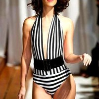 Black White Striped One-Piece Swimsuit/BodySuit Designer Swimwear