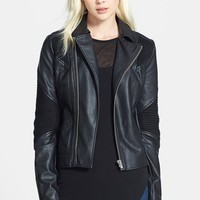 Women's Sam Edelman Faux Leather Moto Jacket, Size X-Small - Black