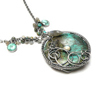 Silver wire wrapped necklace with turquoise, labradorite and chysocolla