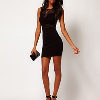 Lipsy Mesh Insert Bodycon Dress at asos.com