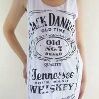 Jack Daniels Shirt -- Old No.7 Brand Sour Mash Tennessee Whiskey Jack Daniels Shirt Women Tank Top Vest Tunic Sleeveless White Shirt Size M