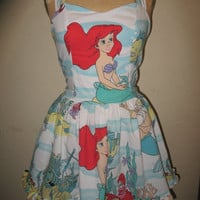 The Little Mermaid Under the Sea Ship wreck King Triton Sweetheart Ruffled Halter Strapless Mini Dress