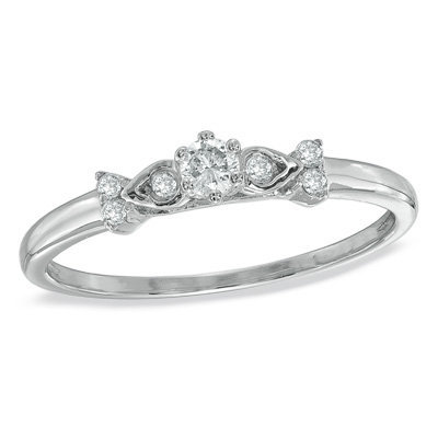 1 7 ct t w flower promise ring from zales