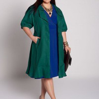 Plus Size Veronique Linen Jacket in Teal by IGIGI
