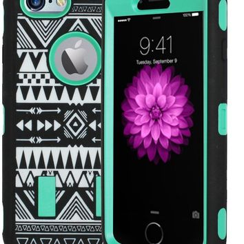 Kuteck® iPhone 6 Case - Tribal Hybrid Dual Layer Armor Defender Full Body Protective PC Box Case Cover for iPhone 6 4.7-inch with 1 Screen Protector, 1 Stylus (Green)