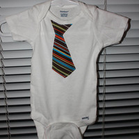 Little Man Tie onsie Brown Blue Orange Yellow and by amberchaeh