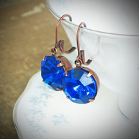Rhinestone Solitaire Earrings, Sapphire, Blue, Copper