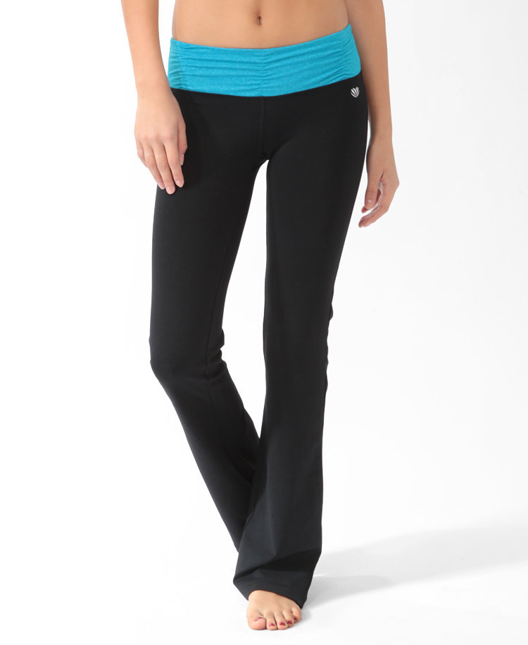 Heathered Ruched Waist Athletic Pants