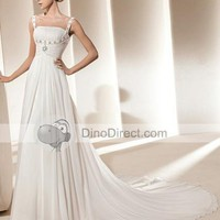 Beading Square Neckline Court Sheath Bridal Gown Wedding Dress - DinoDirect.com